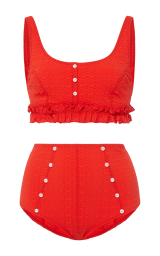 Medium lisa marie fernandez red colby ruffle high waist bikini set