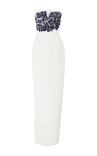 Medium romona keveza white beaded strapless silk column gown