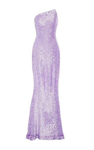 Medium romona keveza purple lavender beaded strapless gown