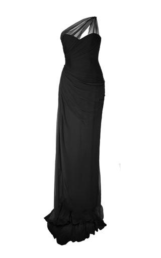 Medium romona keveza black asymmetrical draped bodice gown