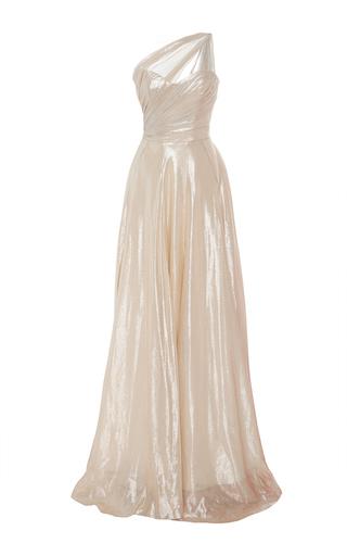 Medium romona keveza off white draped one shoulder metallic ball gown