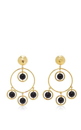 Medium laura davila gold anya onix earrings