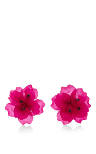 Medium matthew melka pink m o exclusive fleur de lis earrings in pink