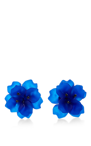Medium matthew melka blue m o exclusive fleur de lis earrings in dark blue