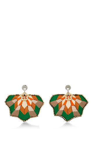 Medium matthew melka multi m o exclusive fan coral earrings in green
