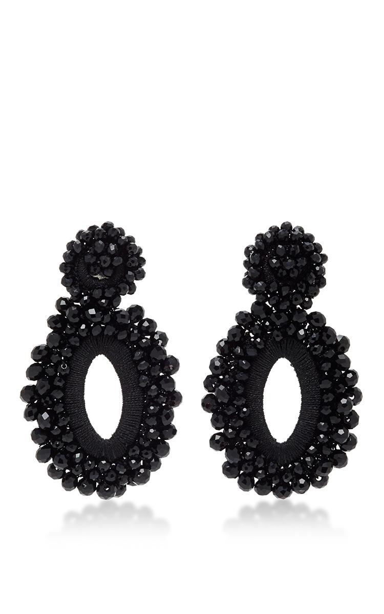 M O Exclusive Beaded Drop Earrings In Black By Bibi Moda Operandi