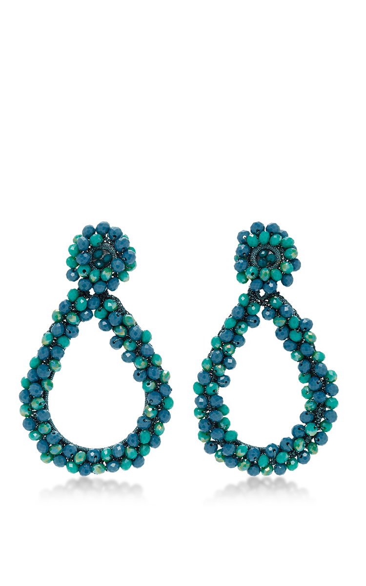 M O Exclusive Beaded Drop Earrings In Blue By Bibi Moda Operandi