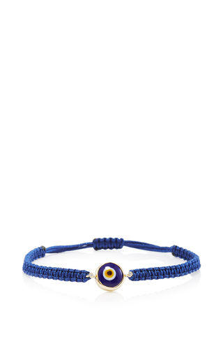 Medium elena votsi yellow navy blue evil eye single strand cord bracelet in blue