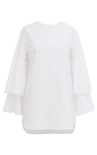 Medium monographie white pleated short sleeve shirt