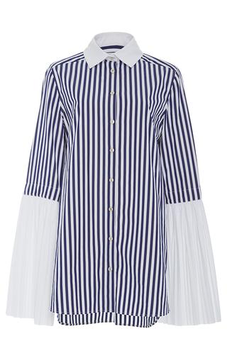 Medium monographie stripe pleated long sleeve shirt