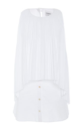 Medium monographie white pleated layer tank top