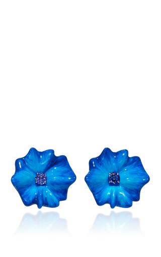 Medium sabbadini blue flower collection round cut tanzanite earrings in blue