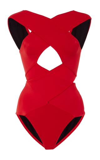 Medium oye red chiara banded cutout one piece