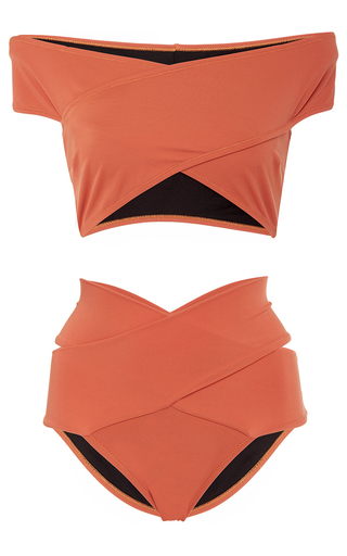 Medium oye orange lucette banded bikini set