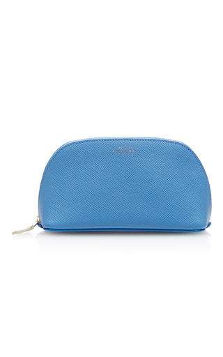 Medium smythson light blue panama cosmetics case