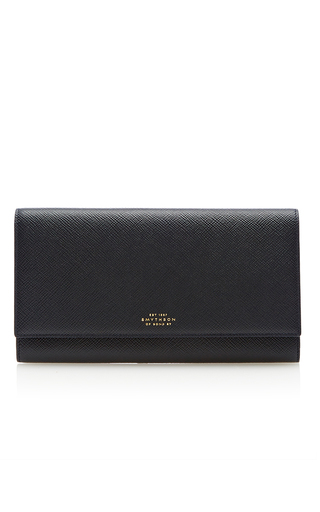 Medium smythson navy panama marshall travel wallet