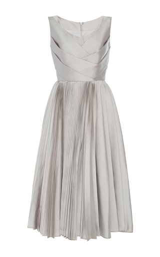 Medium dice kayek silver sleeveless metallic pleated dress