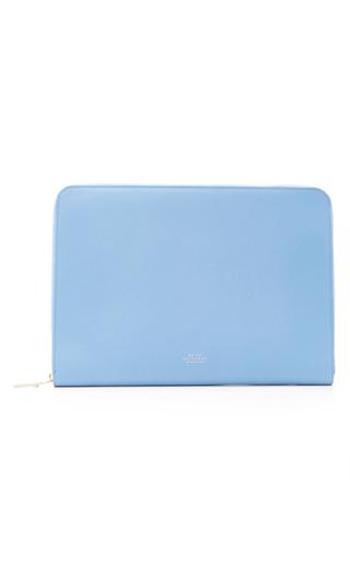 Medium smythson light blue panama 13 laptop case