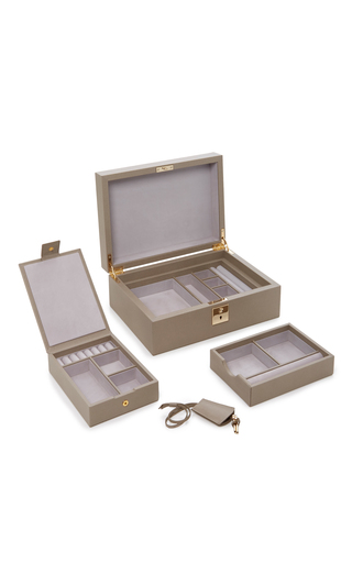 Medium smythson light grey grosvenor jewelry box