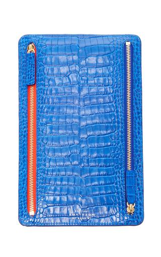 Medium smythson blue mara zip currency case