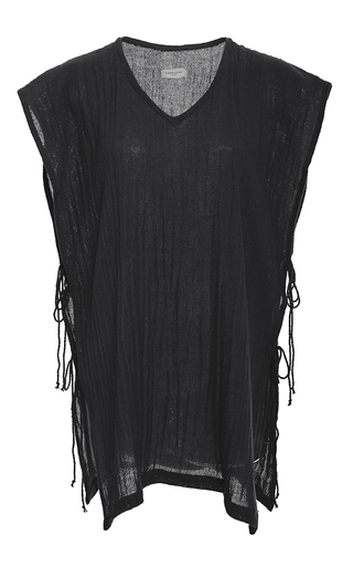 Medium caravana tulum black zeus v neck side slit tunic