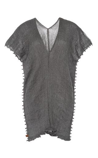 Medium caravana tulum dark grey acoatl v neck knotted gauze dress