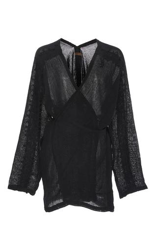 Medium caravana tulum black kan long sleeve tied wrap shirt
