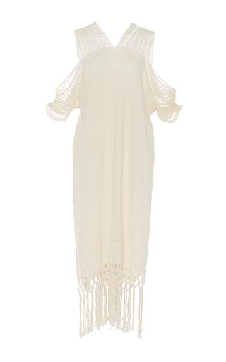 Medium caravana tulum off white scorpios frayed cold shoulder dress