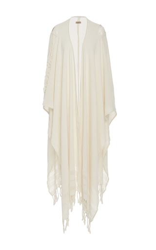 Medium caravana tulum off white yun caax frayed cape dress