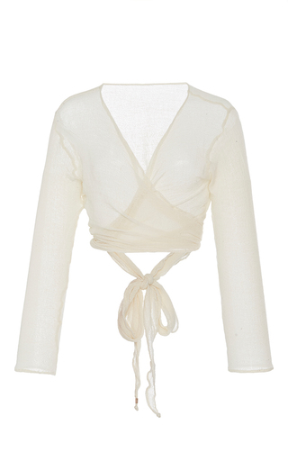Medium caravana tulum off white lahun long sleeve wrap top