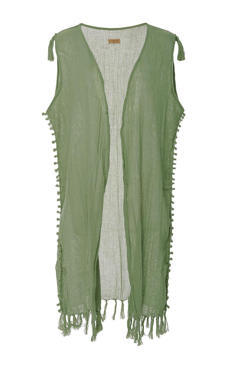 Caravana sleeveless long vest-style coat - Verde CSh5sjaYwh