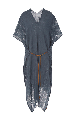 Medium caravana tulum blue iktan frayed poncho