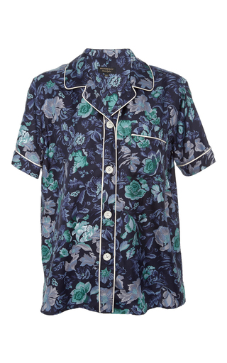 Medium burberry floral printed silk sleep shirt 2