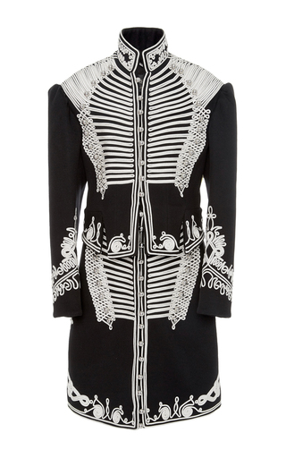 Medium burberry black white wool military coat