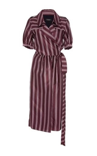 Medium burberry burgundy panama strip robe dress