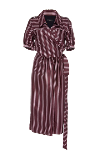 Medium burberry burgundy panama strip robe dress