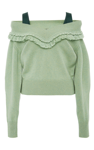 Medium burberry green cashmere off the shoulder sweater