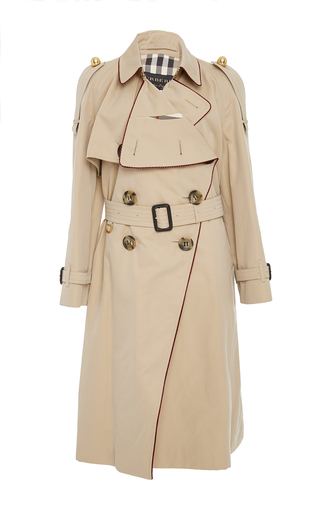 Medium burberry tan asymmetrical drape trenchcoat