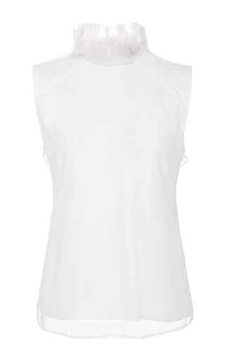Medium burberry white sleeveless ruffle top