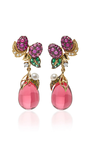 Medium anabela chan red raspberry drop earrings