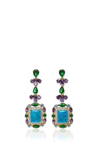 Medium anabela chan blue opal deco earrings
