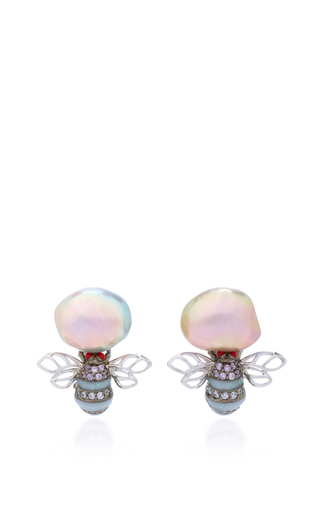 Medium anabela chan white mini bumble earrings
