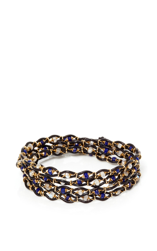 Medium camellia westbury blue leather and gems 5 row bracelet