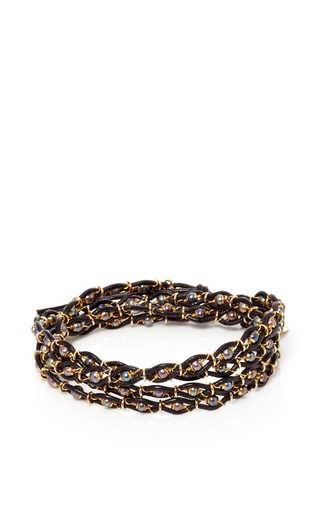 Leather And Gems 5 Row Bracelet by CAMELLIA WESTBURY Now Available on Moda Operandi