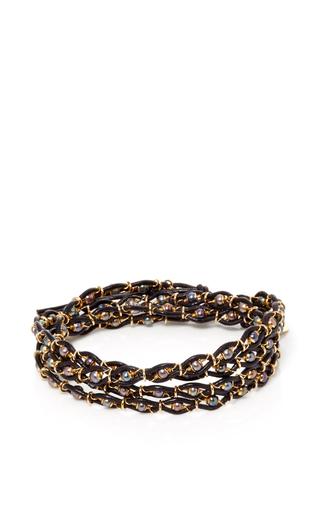 Medium camellia westbury light grey leather and gems 5 row bracelet 2