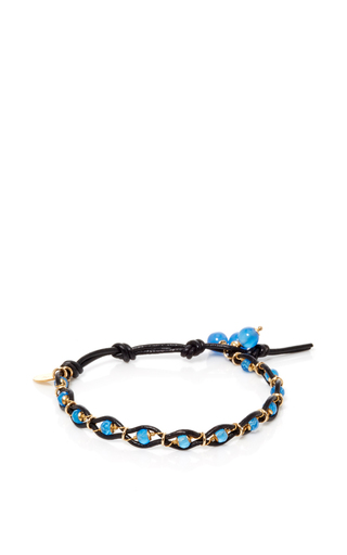 Medium camellia westbury blue leather and gems bracelet 3