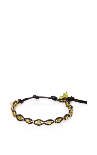Medium camellia westbury green leather and gems bracelet 4