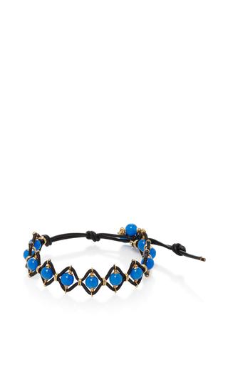 Medium camellia westbury blue leather and gems bracelet 7