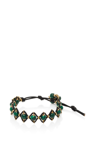 Medium camellia westbury green leather and gems bracelet 8