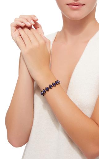 Leather And Gems Tiger Eye Bracelet by CAMELLIA WESTBURY Now Available on Moda Operandi